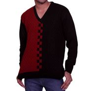 Flying Space Full Sleeves Acrylic Sweater For Men - Red & Black