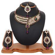 Vendee Fashion Kundan Wedding Necklace Set - Purple & Green _ 8439