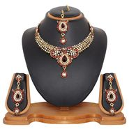 Vendee Fashion Kundan Tiny Heart Necklace Set - Maroon _ 8474