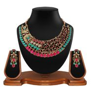 Vendee Fashion Kundan Antique Choker Design Necklace Set - Pink & Green _ 8610