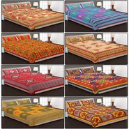 Set of 8 Cotton King Size Jaipuri Sanganeri Printed  Bedsheets and 16 Pillow Covers-8B90X108C2