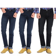 Pack of 3 American Elm Stretchable Slim Fit Jeans_Aemj234 - Black & Blue