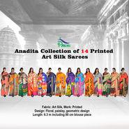 Anadita Collection of 14 Printed Art Silk Sarees by Pakhi (14A1)