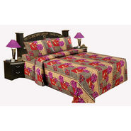 Bazar Villa Cotton King Size Double Bed Sheet with 2 Pillow Cover - Multicolor- RCA3109