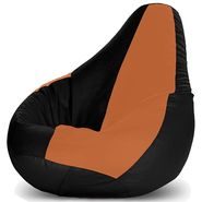 Storyathome-_XXL Tan - BLACK Bean Bag Chair Cover Without Beans-BB1403