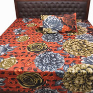 Bazar Villa Cotton Double Bedsheet with 2 Pillow Covers - Multicolor- RCA3131