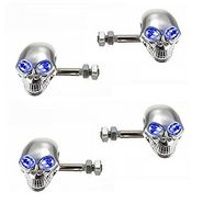 AutoStark Blue LED Chrome Skull Bike Indicators Set of 4 - Universal