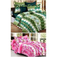Set of 2 Double Bedsheet with 4 Pillow Cover-1237-1246