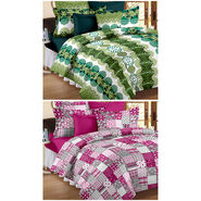 Set Of 2 Double Bedsheet With 4 Pillow Cover-CN_1237-CN1243