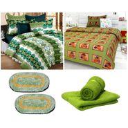 Combo of Double Bed Sheet & Single Bed Sheet,Hand Towel & Door Mats-CN_1237