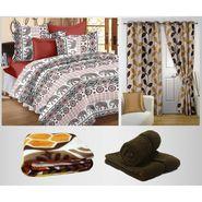 Combo of 100% Cotton Double Bedsheet, Blanket, Curtain Set & Hand Towel Set-CN_1260