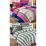 Set Of 2 Double Bedsheet With 4 Pillow Cover-CN_1268-CN1401