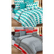 Set Of 2 Double Bedsheet With 4 Pillow Cover-CN_1403-CN1253