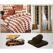 Combo of 100% Cotton Double Bedsheet, Blanket, Curtain Set & Hand Towel Set-CN_1405