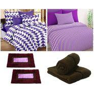 Combo of Double Bed Sheet & Single Bed Sheet,Hand Towel & Door Mats-CN_1406