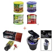 Combo of Cigarette Lighter Cum Adaptor + Cigrarette Ashtray + Led Light + Car Air Freshener