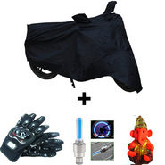 Combo of Bike Body Cover + ProBiker Gloves + Flash Wheel Lights + Hanging Ganesha for Yamaha Ray COMBOBKBLACK-YAMAHA7