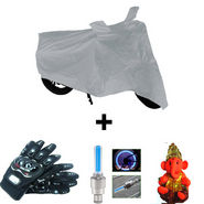 Combo of Bike Body Cover + ProBiker Gloves + Flash Wheel Lights + Hanging Ganesha for Yamaha Ray COMBOBKSilver-YAMAHA7