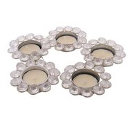 eCraftIndia Set of 5 Crystal Tea Light Holder-CRYS112