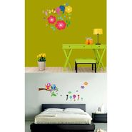 Set of 2 meSleep Colourful Floral Birds and Owls on Branch Wall Stickers