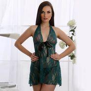 Clovia All Over Lace Plain Nightwear - Aqua - NS0179Q47