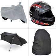 Rainy Day Combo - Bike Body cover +Umbrella+Helmet
