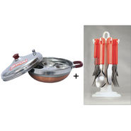 Combo Multipurpose 4 in 1 Kadhai with Copper Base + Elegante Tablecraft 24Pcs Cutlery Set with Stand