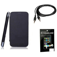 Combo of Camphor Flip Cover (Black) + Screen Guard + Aux Cable for Nokia 502