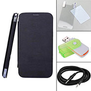 Combo of Camphor Flip Cover (Black) + Screen Protector for Gionee E6 + Aux Cable + Multi Card Reader
