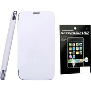Combo of Camphor Flip Cover (White) + Screen Guard for Sony Xperia E