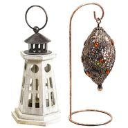 Combo of Light House Designed lantern & Bird Nest Tealight Holder-DCH1403_TLT1421