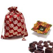 Brocade silk Chocolate pouch_DCHO12