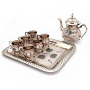 Little India Pure Brass Royal Meenakari Work Real Tea Set -187