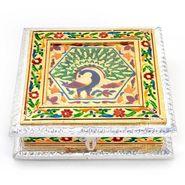 Little India White Metal Pure Meenakari Work Dry Fruit Box -191