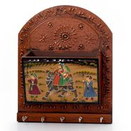 Little India Wooden Hand Painted Magazine and 5 Key Holder 298