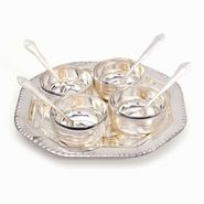 Little India Silver Polish 4 Brass Bowl 4 Spoon n Tray Set 333