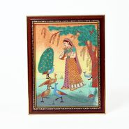 Little India Meera Playing With Peacock Gemstone Painting 346
