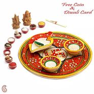 Aapno Rajasthan Red Marble Pooja Thali with 2 Diyas & 1 Open Chopra