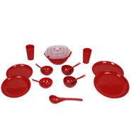 Kitchen Duniya Round Dinner Set 16 Pcs-Blossom Red