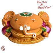 Aapno Rajasthan Multicolor Terracotta Ganesh Holding Baby Ganesh Showpiece