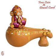 Aapno Rajasthan Black & Pink Terracotta Ganesh Showpiece with Black Finish