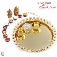 Aapno Rajasthan Beautiful AD Studded Golden Diwali Pooja Thali