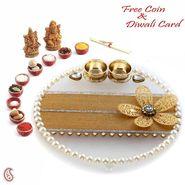 Aapno Rajasthan Pearl & AD Studded Floral Motif Decorated Diwali Pooja Thali