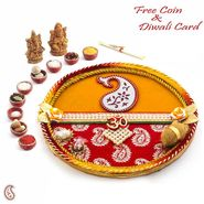 Swastik & Gat Motif Embellished Diwali Pooja Thali