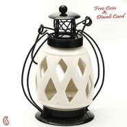 Diamond Cut Pure White Ceramic Wind Lantern Tea Light Holder