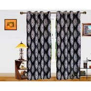 DEKOR WORLD  BLACK SILVER BAROQUE  EYELET Window Curtain 2 SET-DWCT-293-5