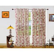 Dekor World Net Floral Window Curtain (Pack of 2)-DWCT-908-5