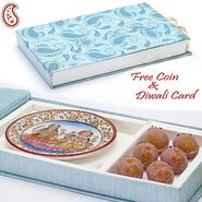 Aapno Rajasthan Gift Box with Kaju Lichees and Laxmi Ganesh Plate