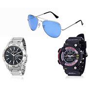 Combo of Dezine Wrist Watch + Aviator Sunglass_CMB9401-BLK-BLU