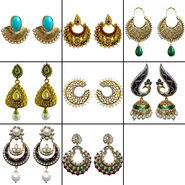 Combo Of 8 Pair Of Earrings By Dg Jewels